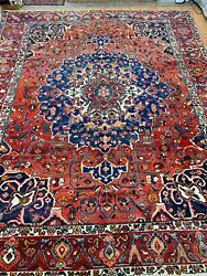 9'4 X 12' Antique Indian Oriental Rug - 1930s - Hand Made - 100 Wool