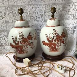 Vintage Chinese Large Pair Of Ginger Jar Sofa / Table Lamps, Wood Bases.