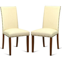 2-set Armless Accent Dining Chairs Fabric Upholstered Kitchen Restaurant Beige