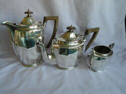 Art Deco Hallmarked Silver Tea Set Sheffiield 1931 Cooper Bros And Sons Gd Cond