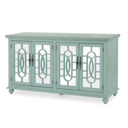 Saltoro Sherpi Trellis Front Wood And Glass Tv Stand With Cabinet Storage, Mint