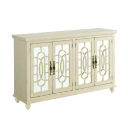 Saltoro Sherpi Trellis Front Wood And Glass Tv Stand With Cabinet Storage, Beige