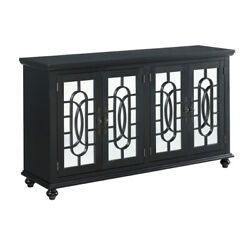 Saltoro Sherpi Trellis Front Wood And Glass Tv Stand With Cabinet Storage, Black