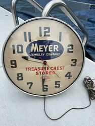 Vintage 1950's Meyer Jewelry Company Clock. Made By Lackner Original Advertising