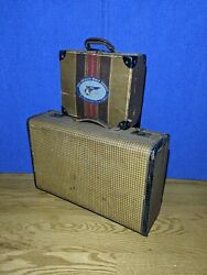 Vintage Lot 2 Suitcases Tweed Pattern 30s 40s Carry On Hard Shell Leather Trim