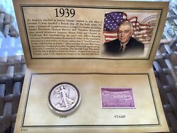 1039 Historic Walking Liberty Half Dollar Stamp And Coin Collection Set Sealed