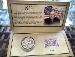 1035 Historic Walking Liberty Half Dollar Stamp And Coin Collection Set Sealed