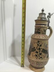 """Large Antique German Hand Decorated Beer Stein Pitcher W / Pewter Lid 17"""" High"""