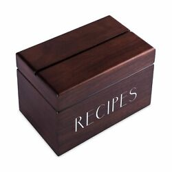 Walnut Recipe Box With Cards And Dividers By Apace - Vintage Style Wood 4x6 R...