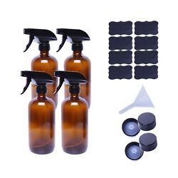 Empty Amber Glass Spray Bottles, Large 16 Oz Refillable Container Pack Of 4 F...