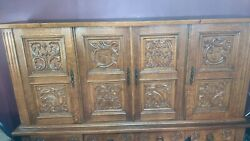 Beautiful Hand Carved Oak Antique Sideboard