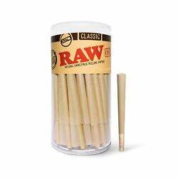 Raw Cones Classic 1 1/4 Size   150 Pack   Natural Pre Rolled Rolling Paper Wi...