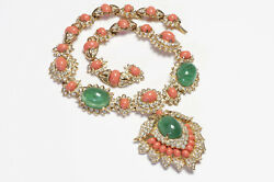 Kenneth Jay Lane Kjl Green Cabochon Glass Faux Coral Resin Mughal Style Necklace