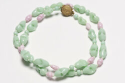 Miriam Haskell 1950's Green Pink Glass Beads Collar Necklace