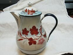 Antique Hand Painted Metal Lg. Coffee Pot French Gorgeous