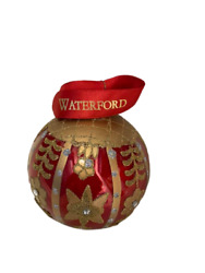 Set Of 4 Waterford Holiday Heirlooms Red Holiday Floral Ball Ornament New Box