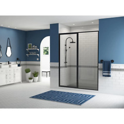 Alcove Shower Door 43 In. W X 66 In. H Pivot Grip Handle Clear Framed Black
