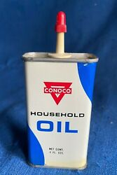 Vintage 4 Oz Conoco Household Oil Oiler Tin Can Gas And Oil Advertising Nos Nmint