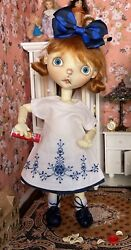 10 Boneka Hand Embroidered Dress Attached Slip For Connie Lowe Sprocket Doll