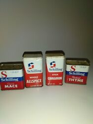 Lot Of 4 Vintage Schilling Metal Spice Tins, Rustic Mace Allspice Cinnamon Thym