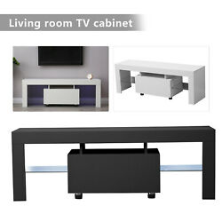 High Gloss Tv Stand Unit Cabinet,w/ Led Lights Drawer Living Room Furniture