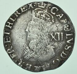 Scarce Charles I Shilling 1635-1636 Mm. Crown, Tower Mint, British Silver Coin