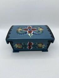 Made In Norway Blue Wooden Floral Handpainted Trinket Box Mini Jewlery Box