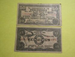 Philippines 1942 Guerrilla Banknotes 25 And 50 Centavos Made With Wooden Plate