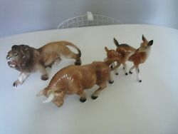 Lot Of 3 Made In Japan Art Pottery Animals - Lion Bull Deer And Doe
