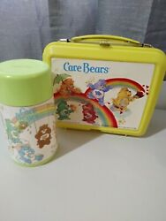 Vintage Lunchbox Aladdin Brand 1983 Care Bears With Thermos Plastic Yellow/green