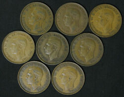 Lot Of 8 Great Britain One Penny Victoria George Vi 1937-1948