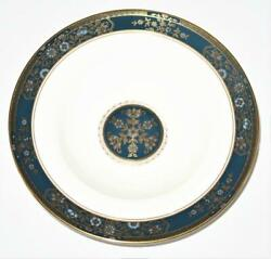 Royal Doulton Carlyle, Blue Flowers Gold Leaves, Teal Band, Rimmed Soup Bowl, 8