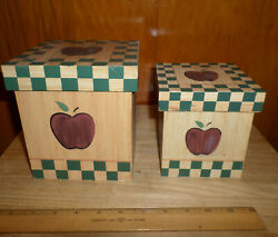 New Rare Rustic Wooden Apple Decorated Boxes - Set Of 2 - Containers With Lids