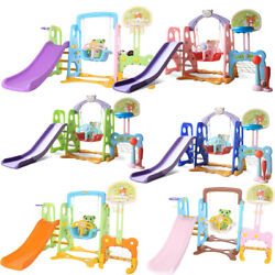 6in 1 Kids Indoor And Outdoor Slide Swing And Basketball Football Baseball Set A