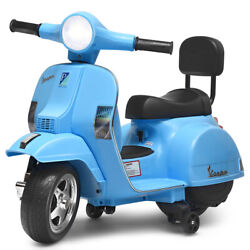 6v Kids Ride On Vespa Scooter Motorcycle For Toddler W/ Training Wheels Blue