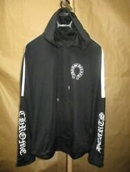 Authentic Chrome Hearts Leather Hood Truck Jacket Hoodie Outer Black Size L