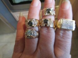 Lot Mixed Men's 4 10k Solid Gold 1 Sterling Silver Rings Scrap