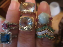 Lot Mixed 10k,14k Gold And 925 Sterling Rings,neclaces, Gemstone Not Scrap Wear