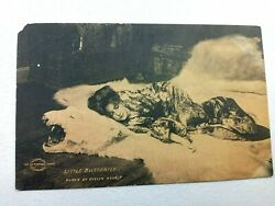 Vintage Postcard 1900and039s Little Butterfly Woman Laying Down On Polar Bear Fur