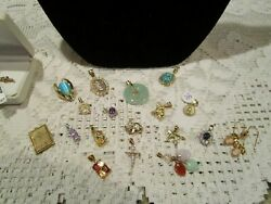 Lot 10k, 14k Gold And Sterling Silver Mixed Jeweler Necklaces, Pendants Scrap
