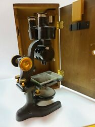 Antique 1926 Bausch And Lomb Cast Iron And Brass Binocular Scientific Microscope