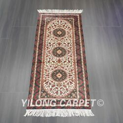Yilong 2.5'x6' Handknotted Silk Rug Runner Red Rose Luxury Indoor Carpet L047h