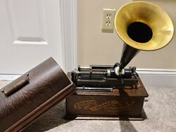 Antique Working 1903 Edison And039homeand039 Banner Front Oak Wind-up Cylinder Phonograph