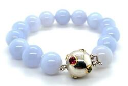 And Co. Etoile Color Gems 18k Gold And Sterling Chalcedony Beaded Bracelet