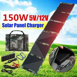 150w Foldable Solar Panel 12v/5v Portable Battery Charger Dual Usb Outdoor Water