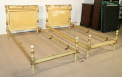 Pair Antique French Directoire Gilded Creme Painted European Twin Size Beds