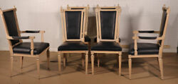Set Of 6 Tall Back Cerused And Black Upholstered French Louis Xvi Dining Chairs