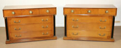 Pair Of French Empire Style Solid Cherry Ebonized Dressers Commodes