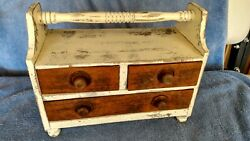 Vintage 3 Drawer Wooden Dresser Box With Handle Farm House/country/decor L@@k