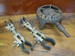 Vtg Fisher Scientific Lab Clamp Test Tube Holders And Cast Iron Gas Single Burner.